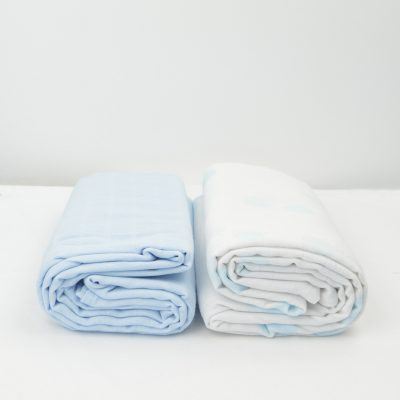 Lot de 2 Maxi langes 100% coton bio imprimés Ronds