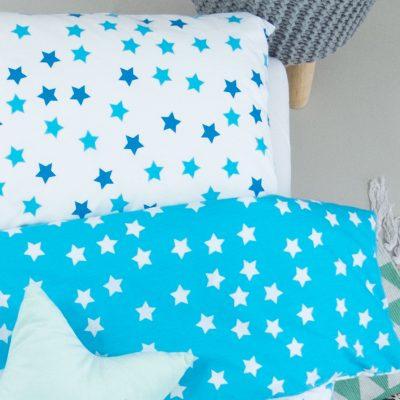 Housse de couette bébé + taie en coton bio motifs étoiles