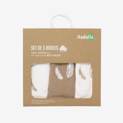 Body manches courtes en coton bio à motifs plumes (lot de 3)