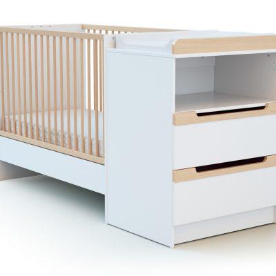 Combiné lit et table à langer évolutifs, tiroirs hêtre et blanc